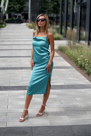 Slip dress iliemenuota suknele, akvamarinas
