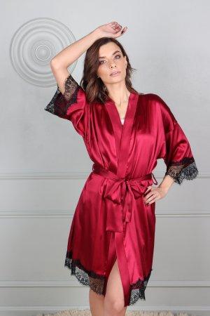 Naturalaus silko kimono chalatas moterims, bordo