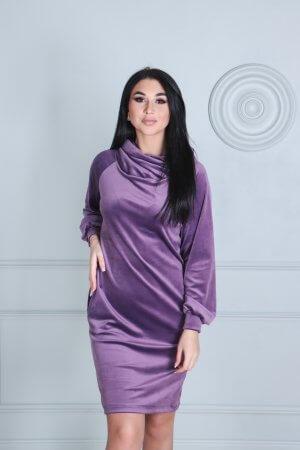 Veliurine tunika suknele, gesintos rozines spalvos
