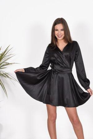 Šilkinė jaunatviska suknele progine suknele, pamergiu suknele juoda suknele