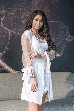 Chalatas nuotakai baltas kimono prabangus baltas chalatas