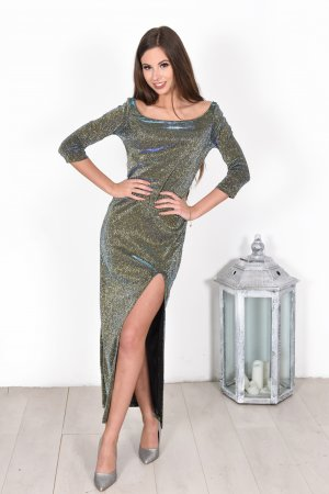Ilga progine suknele su blizgresiu su skeltuku sventine suknele ilga