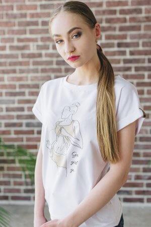 Marškineliai su spauda Art line technika GO GIRL GO