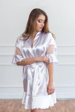 Nuotakos baltas chalatas kimono tipo baltas šilkinis chalatukas (1)