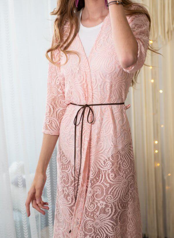 Papludimio neriniuotas chalatas rozinis Differentwe papludimio kimono