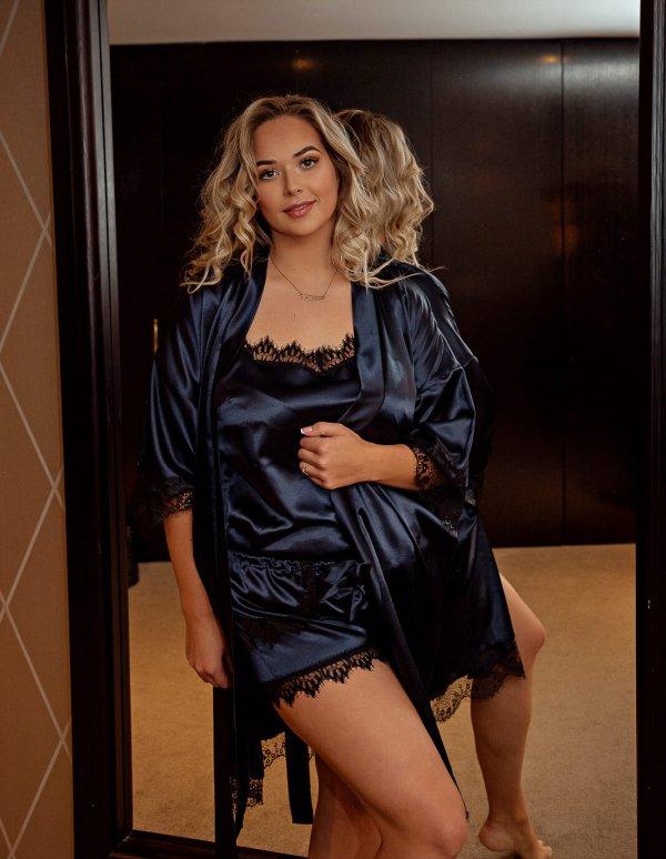 Moteriška pižama su šortais karališkai mėlyna, Plus size