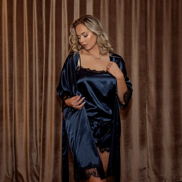 Moteriškas kimono chalatas, karališkai mėlynas, Plus size