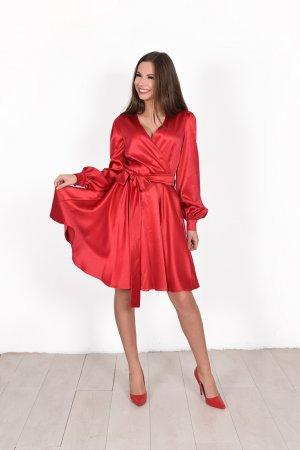 Progine puosni suknele raudona iki keliu silkine suknele