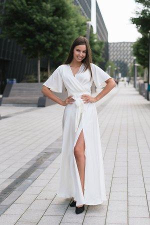 Puosni progine suknele kremine is Armani silko madinga silkine suknele vestuvine suknele beach dress