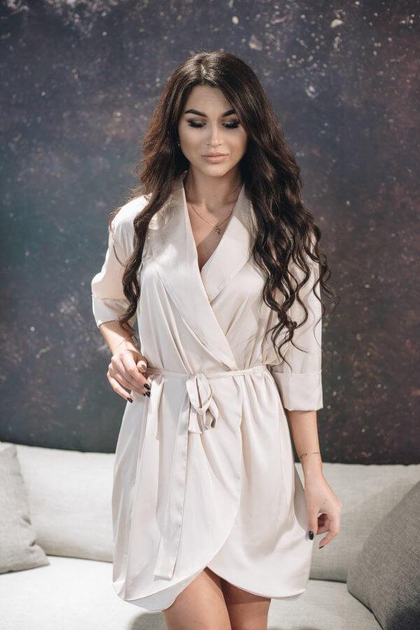 Elegantiškas moteriškas chalatas iš Armani šilko