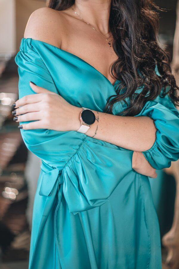 Silkine progine suknele atvyrais peciais akvamarinas