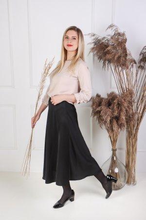 Šilkinis juodas sijonas A formos (5)