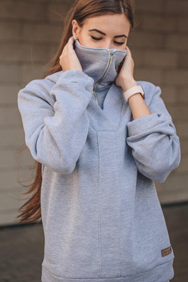Laisvalaikio džemperis COVID - 19 STOP su prailgintu aklu kaip kauke