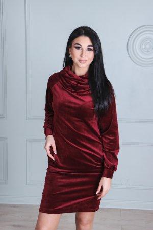 Veliurines soft suknele, tunika is veliuro, rubino spalvos