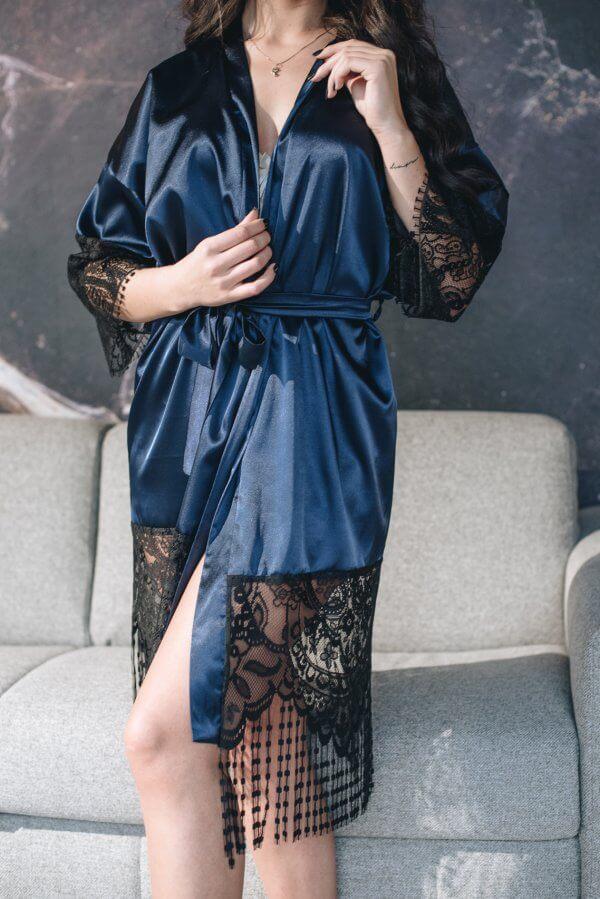 chalatas kimono su nėriniais