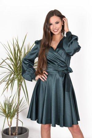 progine smaragdine suknele su pustomis rankovemis šilkine suknele